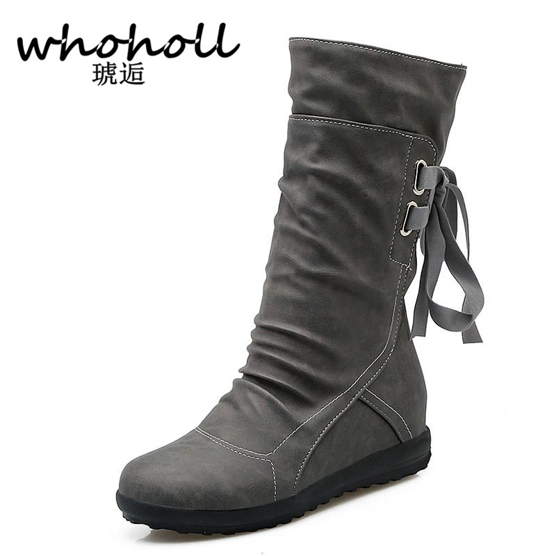 Whoholl Women Winter Snow Boots Mid-Calf Solid Flats Winter PU Boots Women Warm Plush Boots Ladies Boots Plus Size 34-43 double buckle cross straps mid calf boots