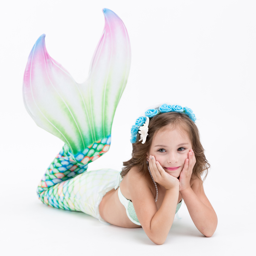 2018 NEW ARRIVAL Kids Girls 3pcs Mermaid Tail With Monofin Summer Vacation Cospaly Costumes Dress Swimmable