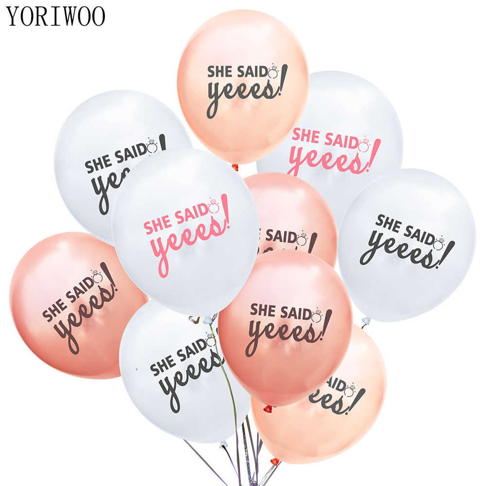 YORIWOO 10pcs She Said Yes To Be Bride Balloon Air Latex Balloon Just Married Team Mr Mrs Wedding Bachelorette Party Decorations