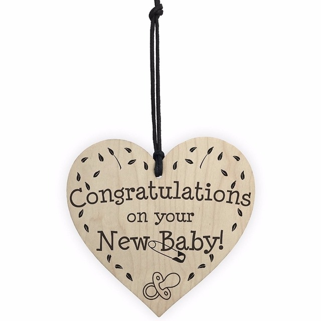 Meijiafei Congratulations On Your New Baby Wooden Hanging Heart