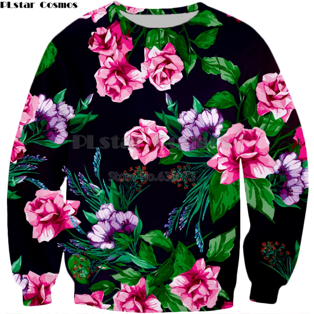 PLstar Cosmos Brand Clothing 2018 New Style Mens Fashion Long Sleeve Sweatshirt Flowers 3d Print Mens Womens Casual Pullover