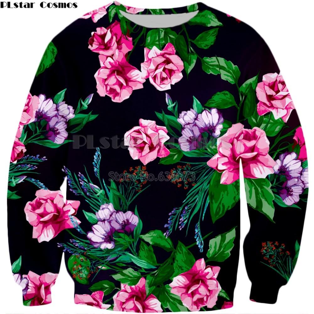 PLstar Cosmos Brand Clothing 2018 New Style Mens Fashion Long Sleeve Sweatshirt Flowers 3d Print Mens Womens Casual Pullover