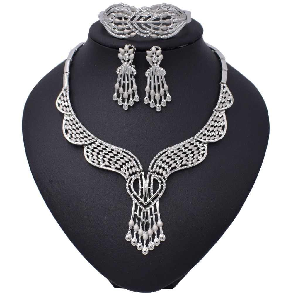 African Beads Jewelry Set Nigerian Wedding Gold/Silver Color Long Necklace Jewellery Sets For Women Luxury Dubai Jewelry Sets