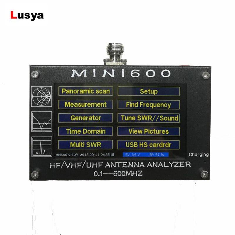 For Radio Mini600 HF VHF UHF Antenna Analyzer 0.1-600MHz SWR Meter 1.0-1999 5V/1.5A TF Card vna 1m 3ghz vector network analyzer minivna tiny vhf uhf nfc rfid rf antenna analyzer signal generator swr s parameter smith