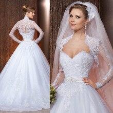 Vestido De Noiva Princesa 2015 Sweetheart Lace Bridal Dresses With Jacket Wedding Gowns A Line Robe Mariage W3938
