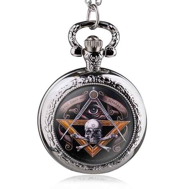 f3cd7410b Antique Vintage Skull Masonic Pocket Watch Retro Bronze Pendant Necklace  Quartz Watches Men Gifts