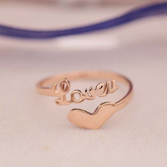 YUN RUO Brand Rose Gold Ring Heart Open Design for Elegant Woman