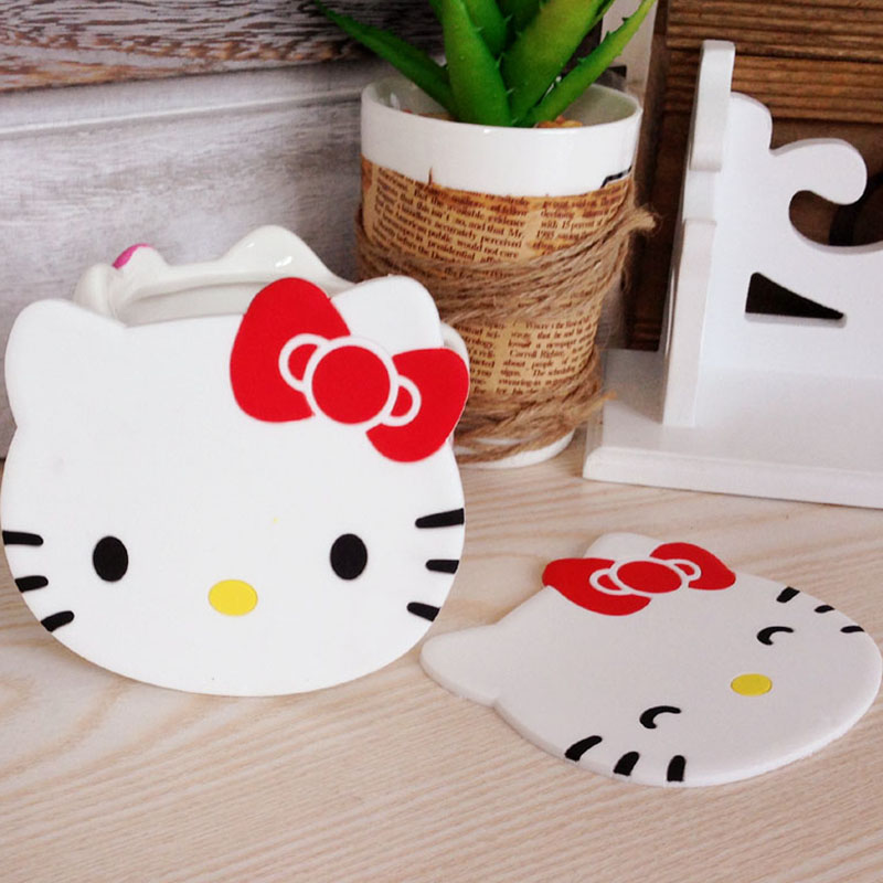 Hello Kitty Kitchen Accessories: 1pcs/lot Cartoon Silicone Hello Kitty Drink Pads Dining