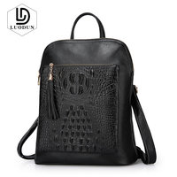 LUODUN New first layer leather crocodile pattern shoulder bag female Genuine Leather multi functional fashion ladies backpack