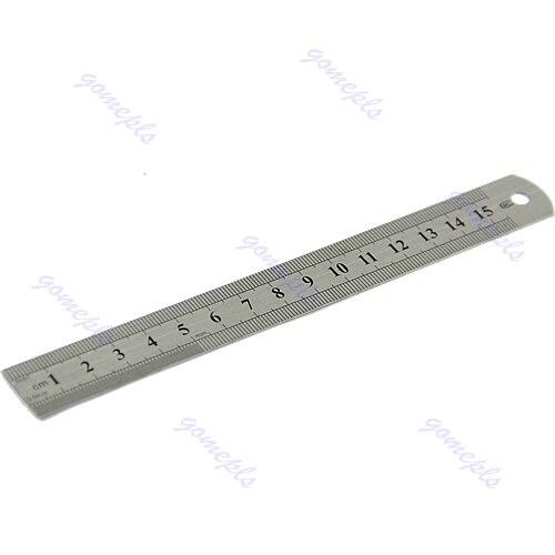 2017 double side 15cm 6 pouces en acier inoxydable de mesure droite ruler outil mar18 15 in