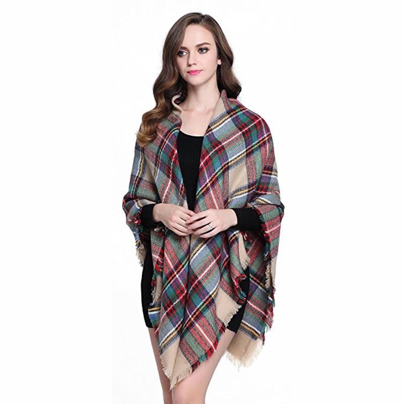 Luxury Brand Square Scarf Women Large font b Tartan b font Plaid Blanket Scarf Ladies Winter