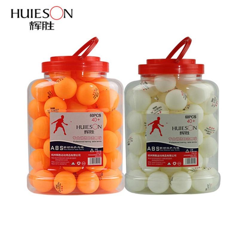 Huieson 60gab / barrel Profesionālā 3 zvaigžņu galda tenisa bumbiņas 40 + mm 2.8g ABS plastikāta pingponga bumba dzeltena balta kluba treniņiem