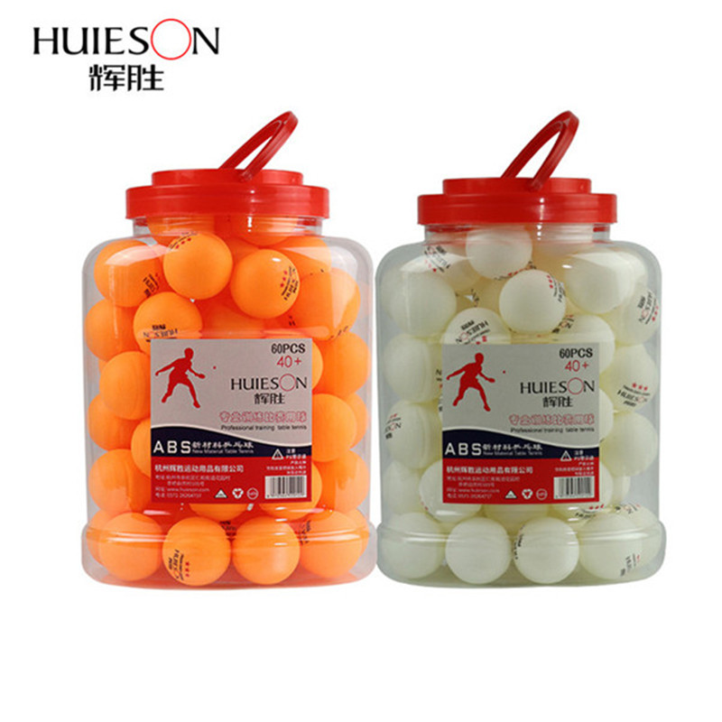 Huieson 60pcs / barrel Professional 3 stelle palline da ping pong 40 + mm 2.8g ABS plastica Ping Pong Ball giallo bianco per allenamento di club