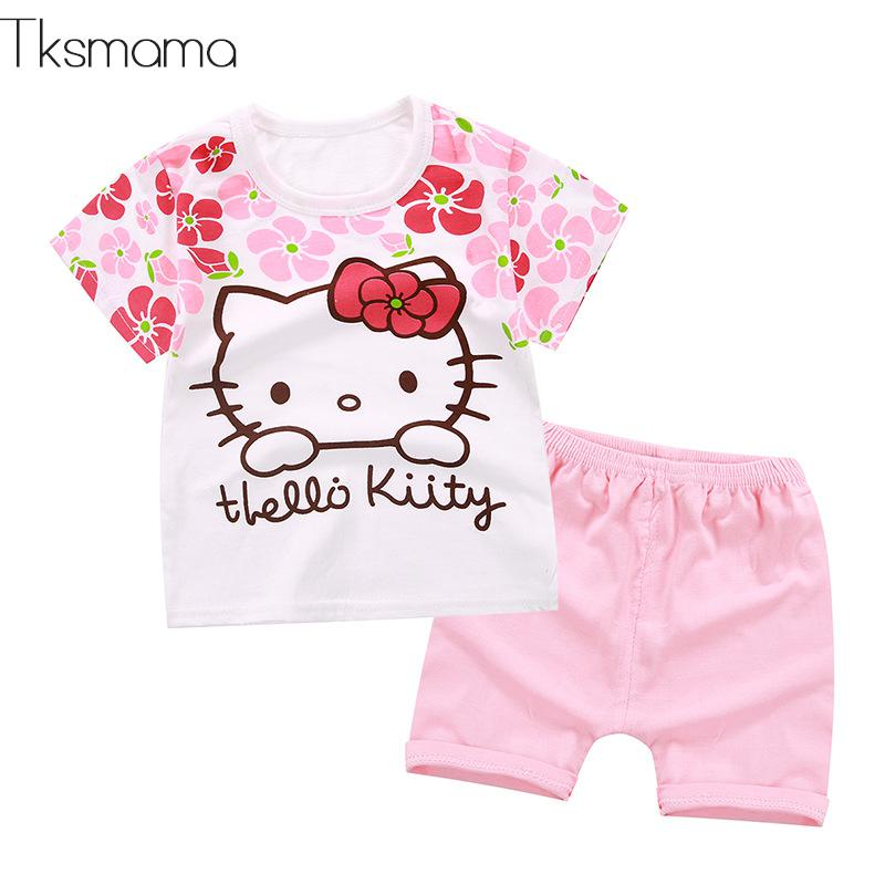 b5ba6dbf015f 2019 New Summer Baby Girls Clothing Sets Floral Hello Kitty Baby ...