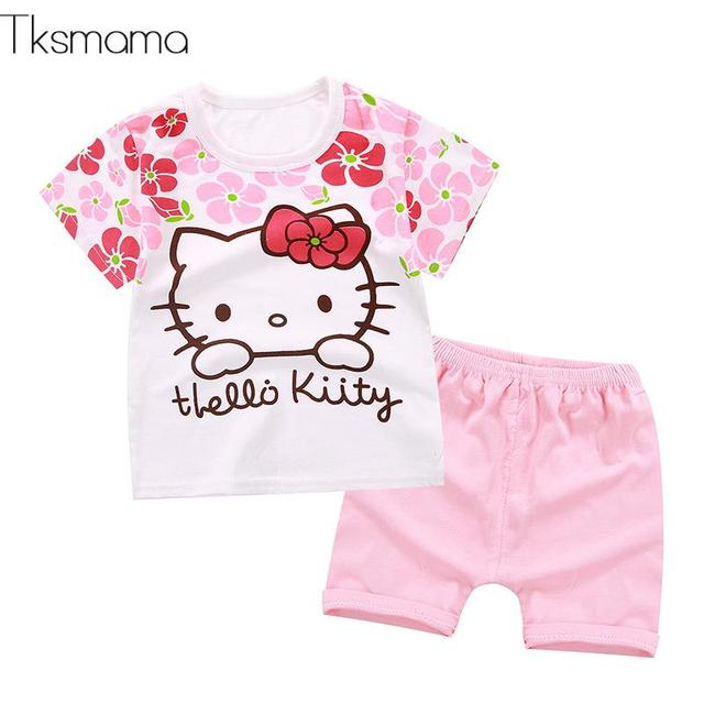 da0d3b7662356 2019 New Summer Baby Girls Clothing Sets Floral Hello Kitty Baby Girl  Clothes Infant Cartoon Costume T-shirt Suit