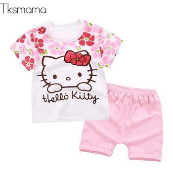 a55e944ea 2019 nuevo verano bebé Niñas Ropa conjuntos de Hola Kitty bebé niña ropa  infantil de dibujos animados traje de la camiseta