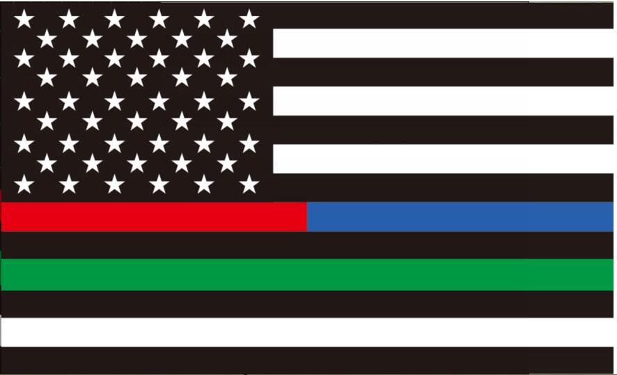 free shipping xvggdg 3x5ft Thin half red and blue Line one green line striped black and white American Flag