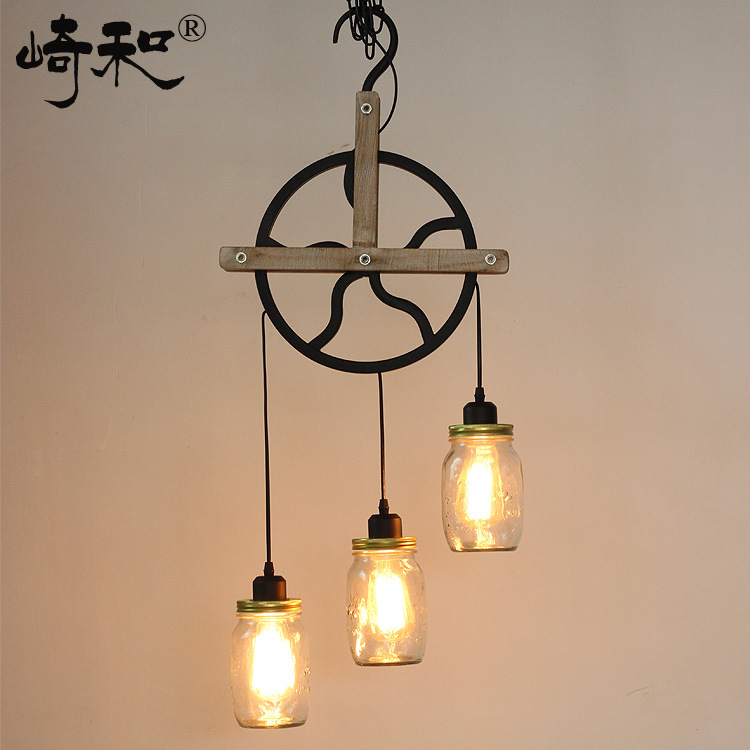 American Country Industrial Vintage Iron Pendant Light Wheel Shape Wood Decoration Glass Coffee Shop Bar Lamp Free Shipping american industrial country personality creative iron wood antique restaurant pendant light coffee shop bar light free shipping