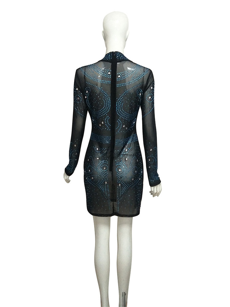 Rhinestone Embellished Bodycon Dress Women Long Sleeve Bling Sparkly Sheer  Mesh Mini Club Dresses Sexy See Through Dress Vestido-in Dresses from  Women s ... 8dae28064a13
