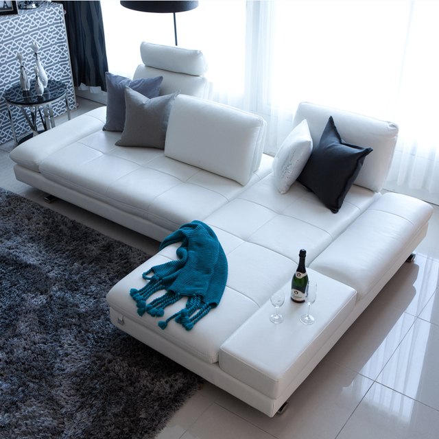 White Leather Sofa Sectional Couch L Shape w/ Stainless Steel Legs 1