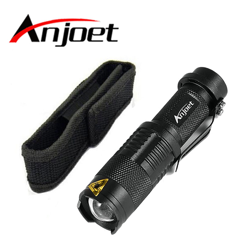 Anjoet Mini ZOOMABLE 2000LM CREE Q5 ZOOM Tactical Flashlight AA Battery OR 14500 Battery Mini Torch Light Lamp+ Mini Holster