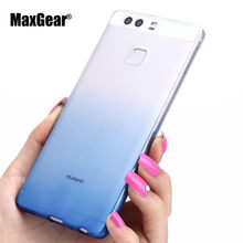 Ultra-thin Transparent Soft TPU Case For Huawei P8 P9 Plus P8 Lite Silicon Gradient Protective Cover for Huawei P9 Phone Shell(China)