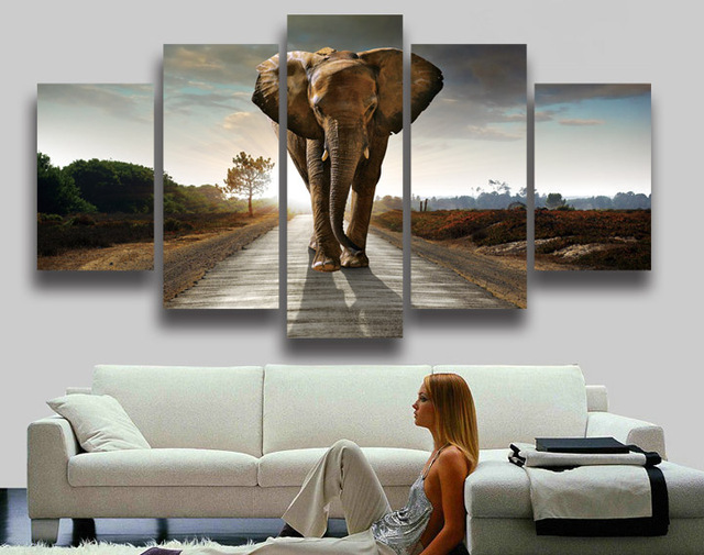Imprimé Moderne Style Africain Éléphant Animal Peinture Sur Toile