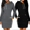 Black/Green/Grey/Wine Red Women Winter Sweatshirt Dress Ladies Hoodie Pullover Jumper Pockets Top