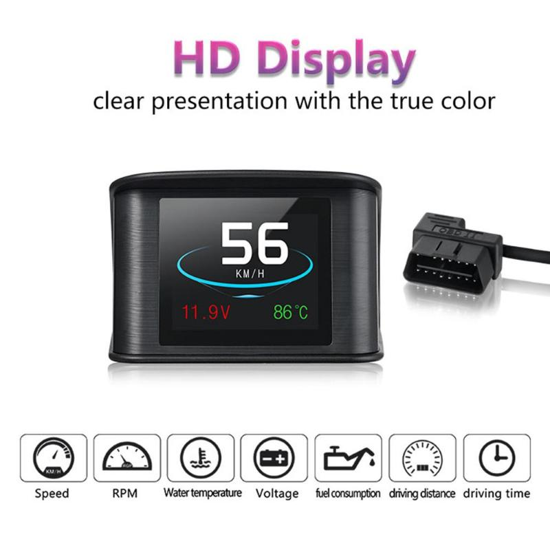 1Pcs LCD Screen Car OBD2 HUD Head-Up Display RPM Voltage Time Overspeed Warning System Windshield Projector Alarm Car Styling цена