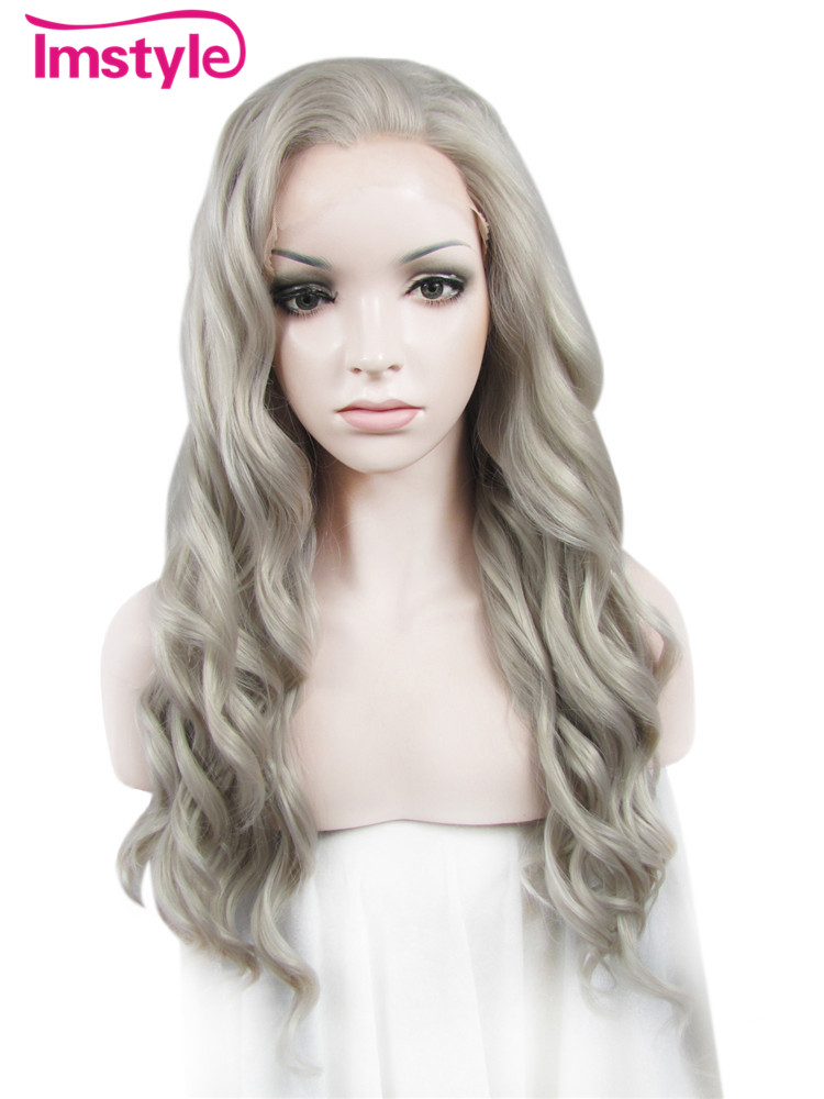 "Imstyle water-Wavy Synthetic Ash white blond 24"" lace front wig"