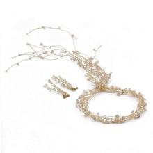 Hand-made sparkling crystal long headband earrings Bride hair Jewelry Wedding ornament