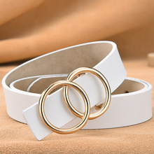Womens fashion round buckle gold jeans wild belt womens dress simple new pin