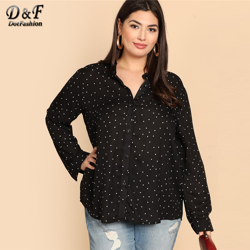 efc79662925 Dotfashion Plus Size Black And White Polka Dot Shirt Women 2019 Autumn Tops  Clothing Long Sleeve