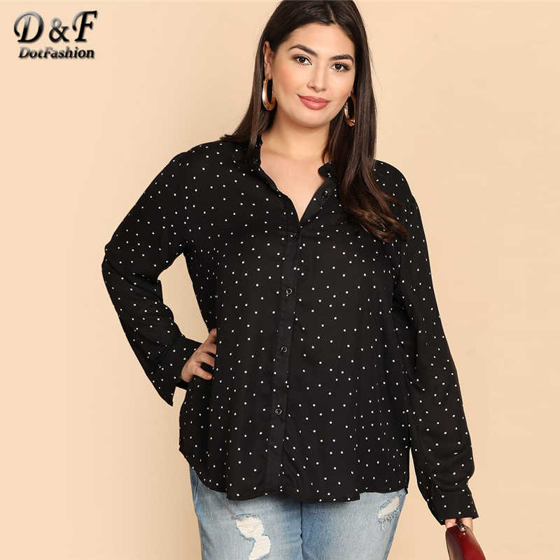 f507b489311 Dotfashion Plus Size Black And White Polka Dot Shirt Women 2019 Autumn Tops  Clothing Long Sleeve