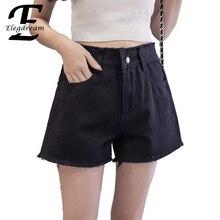 Elegdream женские джинсовые шорты плюс Размеры 5XL Женские повседневные шорты модные Застежка-гульфик короткие брюки с карманами черный, белый цвет S XXXXXL