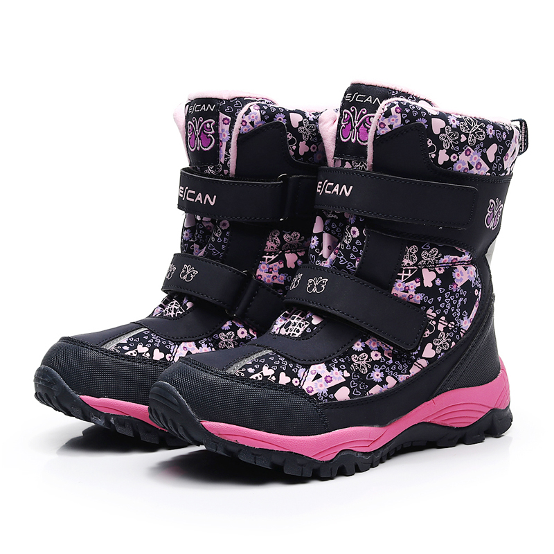 Mioigee Girls Snow Boots Waterproof Kids Boots Warm Plush Boys Snow Boots Children Winter Shoes For Girl Non-slip Outdoor Shoes
