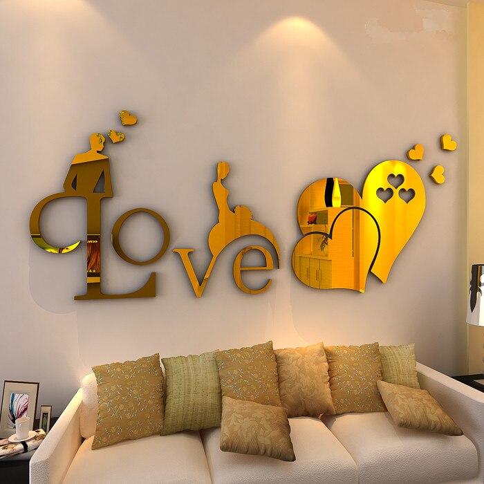 Romantik sevgi Güzgü 3D divar nişanları Öz-özünə yapışan - Ev dekoru - Fotoqrafiya 3