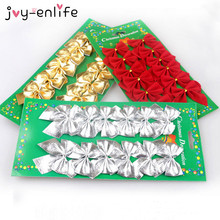 JOY-ENLIFE 12pcs/lot Red/Gold/Silver Sparkling Glitter Ribbon Bow Decor Christmas Tree Decor Christmas Party Ornament Supplies