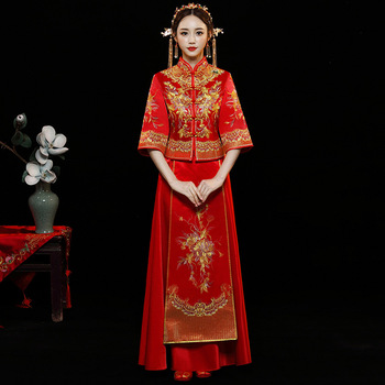 Red Fashion Noble Retro Chinese Women Bride cheongsam Dress Long Wedding Qipao Delicate Embroidery Phoenix cheongsam Size S-XXL