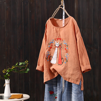 Summer New Funny Cat Embroidery Cute Cotton Tops Women Short Sleeves Loose Linen T Shirts Students