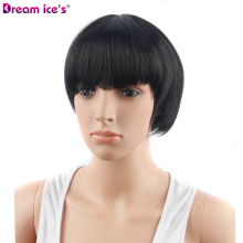 купить short  Synthetic black brown straight bobo wigs, Dream ices cosplay wig 11 inch long for women в интернет-магазине