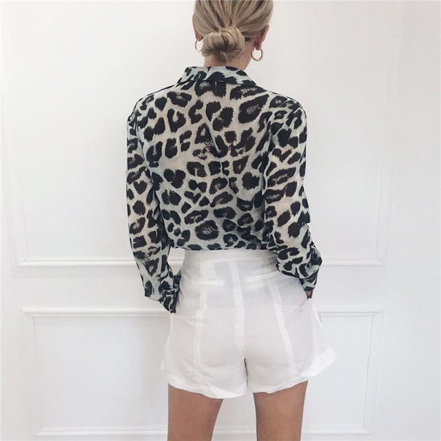 Long Sleeve Sexy Leopard Print Blouse Turn Down Collar Lady Office Shirt Tunic