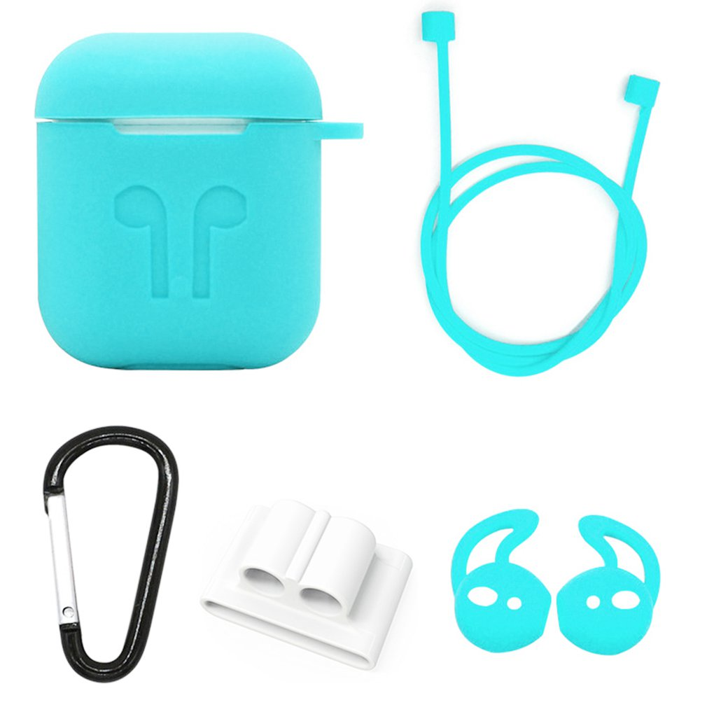 Headphone Case 5 piece set Wireless Headset Anti-lost rope Headphone storage case For AirPods