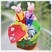 New Hand Glove Baby Plush Toys Three Little Pigs Educational Puppets Finger Kids Learning Education Toys