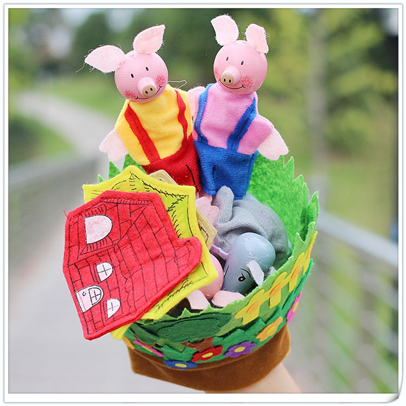 New Hand Glove Baby Plush Toys Three Little Pigs Educational Puppets Finger Kids Learning & Education Toys Gifts For Children недорого