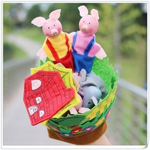 Ny Hand Handske Baby Plush Leksaker Tre Little Pigs Educational Dolls Finger Kids Learning & Utbildning Leksaker Presenter För Barn