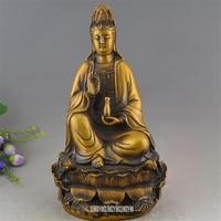 21 см Высота Китайский Тибет Буддизм Будды Скульптура Бронзовый сиденья лотоса Kwan Гуань Инь статуя фигурки храм домашнего декор