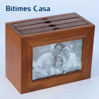 Bitimes 36 Pockets Vintage Antique Wood Photo Album 4'*6' Interleaves Combination Of Photo Frame and Album Home Decoration