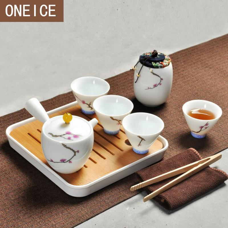 10pc Tea Set Chinese Travel Ceramic Portable Teacup Towel White Porcelainteapot Tea Tray Kung Fu Tea Set Tea Ceremony Teapot