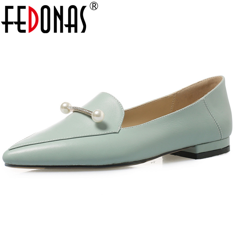 FEDONAS New 2019 Women Basic Pumps High Heels Pointed Toe Pearl Decoration Party Wedding Shoes Woman